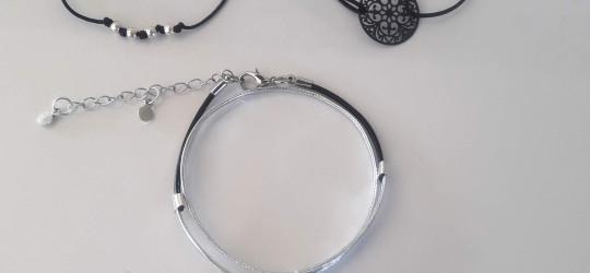 Ensemble de 3 bracelets cordon et simili cuir noir.