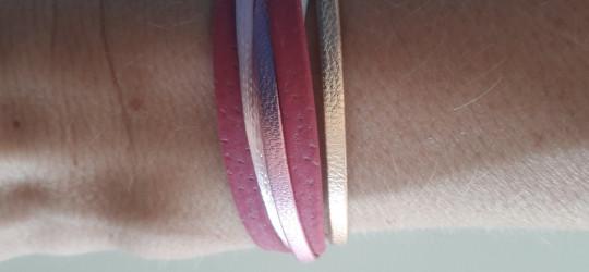 Bracelet multi-brins rose et doré