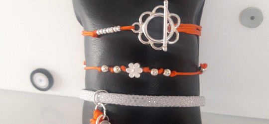 Ensemble de 3 bracelets cordon et simili-cuir orange