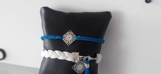 Ensemble de 2 bracelets cordon et cuir, blanc et bleu électrique