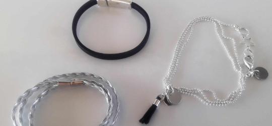 Ensemble de 3 bracelets en cuir et métal noir