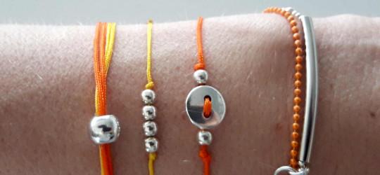 Set de 4 bracelets cordon et chaîne orange et jaune