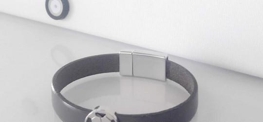 Bracelet enfant garçon sur mesure en cuir et métal