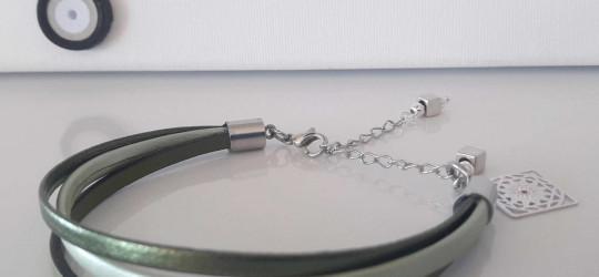Bracelet multi-brins kaki et vert